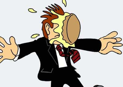 Cartoon guy in suit with pie hitting him in the face
