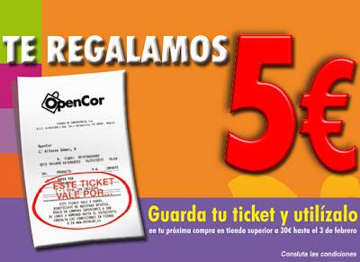 Promoción OpenCor gratis con tu ticket un vale de 5€
