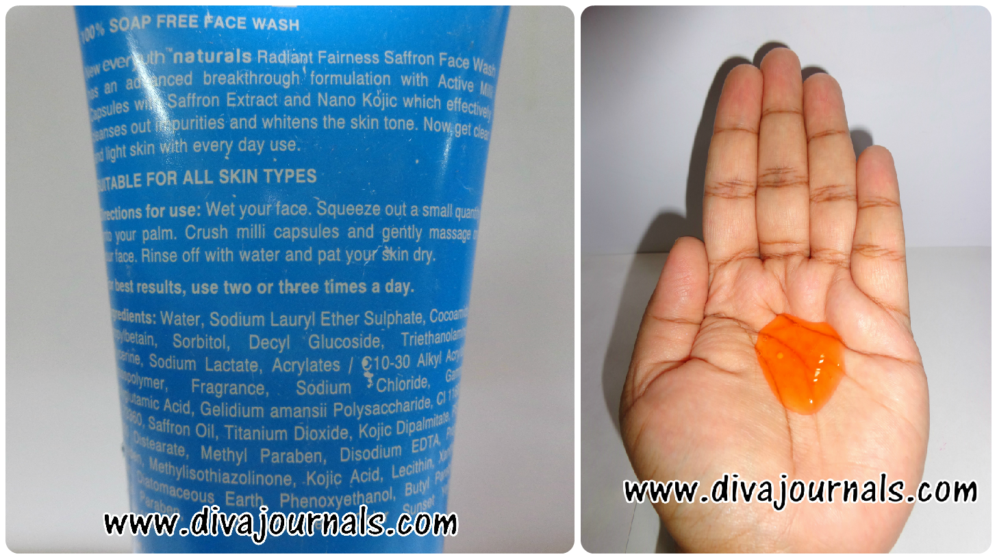 Everyuth Radiant Fairness Saffron Face wash Review