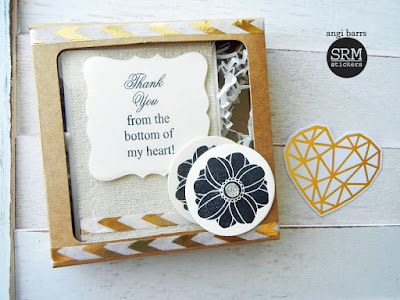 SRM Stickers Blog - Fun with Dies, Boxes and Stamps by Angi - #die #janesdoodles #fancydoodles #kraftwindowbox #tag #thankyou #gift