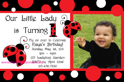 Little Lady Ladybug Birthday Invitation and party set Birthday