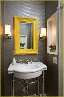 yellow and grey bathroom mirror A Bit of Bees Knees: The Dry Bar