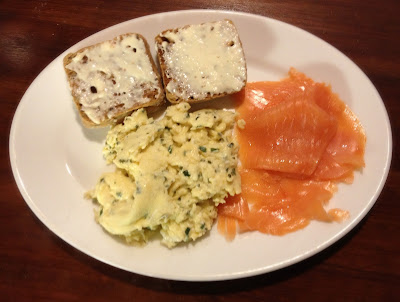 smoked salmon scrambled eggs ciabatta