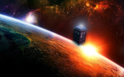 Dr. Who's TARDIS floating in space