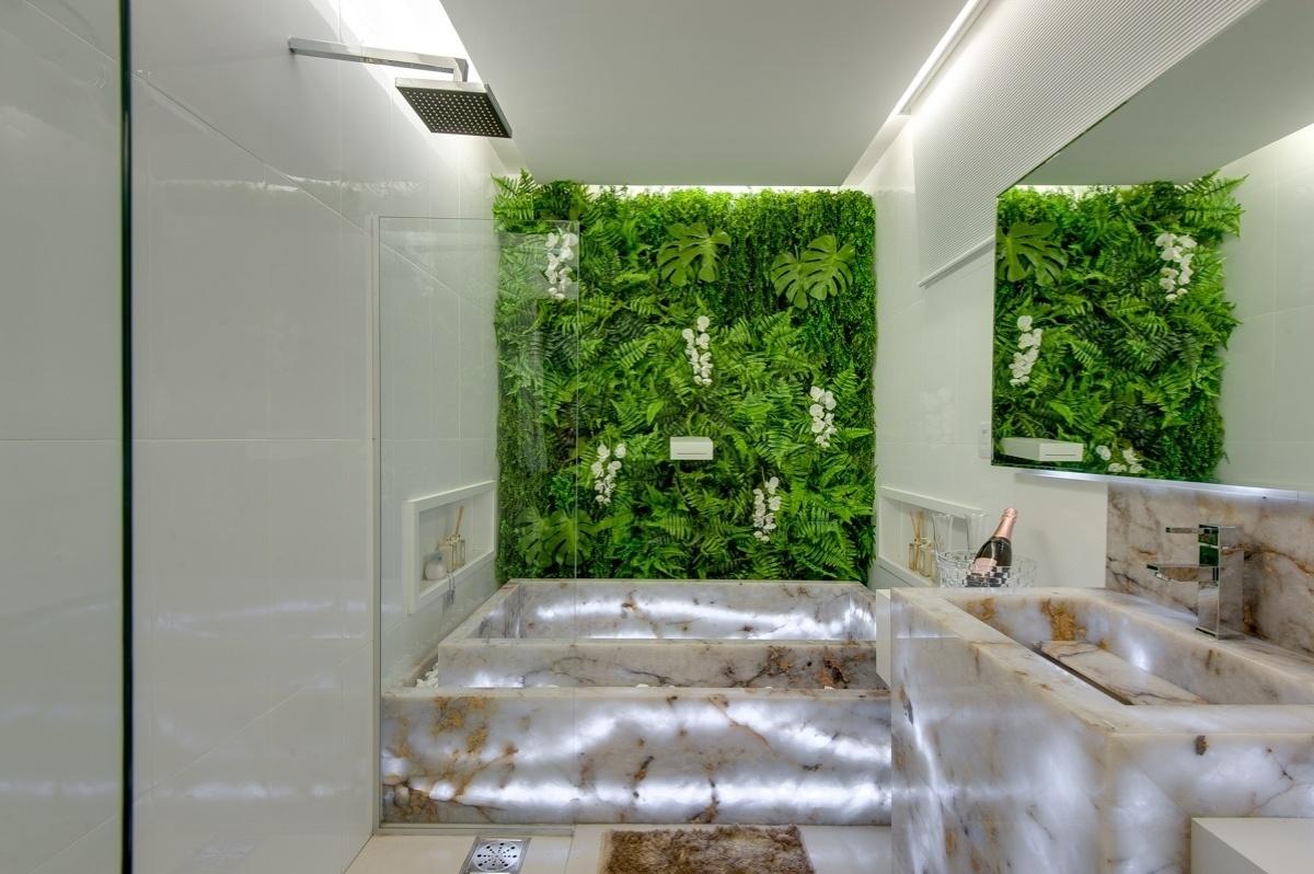 Construindo Minha Casa Clean: Pedra Ônix Iluminada na Decoração  #3F6818 1200x798 Banheiro Com Jardim Embaixo Da Pia