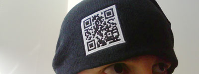 Hat embroidered with a QR code.