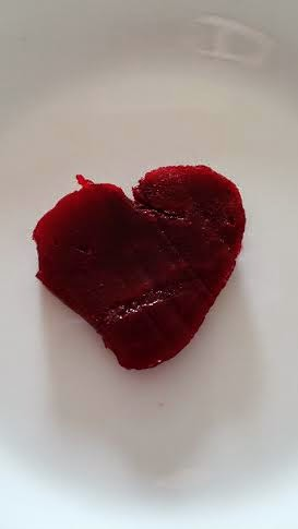 a beet shaped like a heart