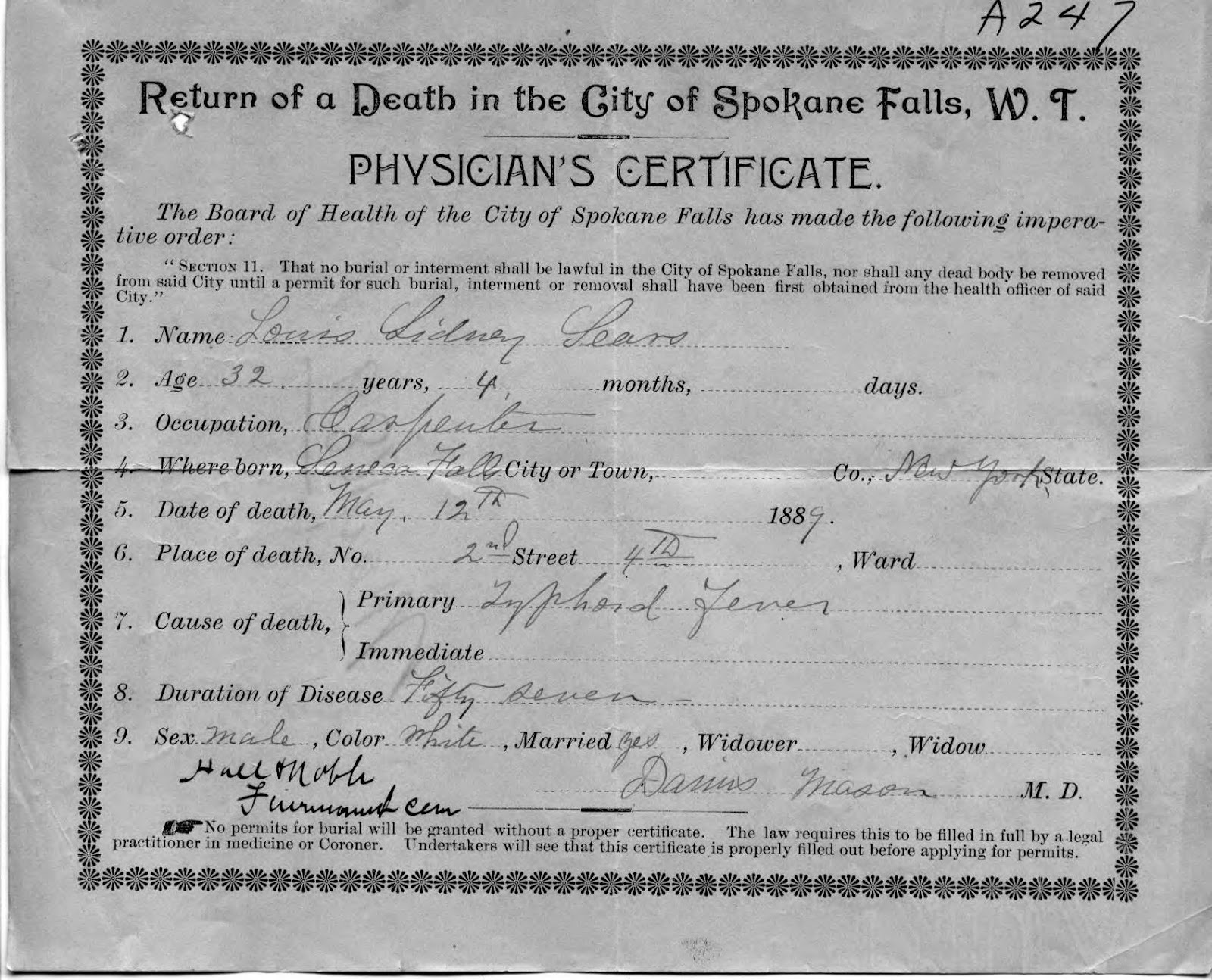 Eastern washington genealogical society blog april 2014 the certificate states that he was a carpenter born in seneca falls new york and died of typhoid fever the duration of the disease is noted to be fifty xflitez Choice Image