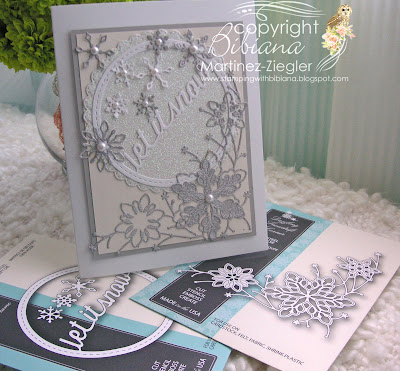 white winter card with memory box dies