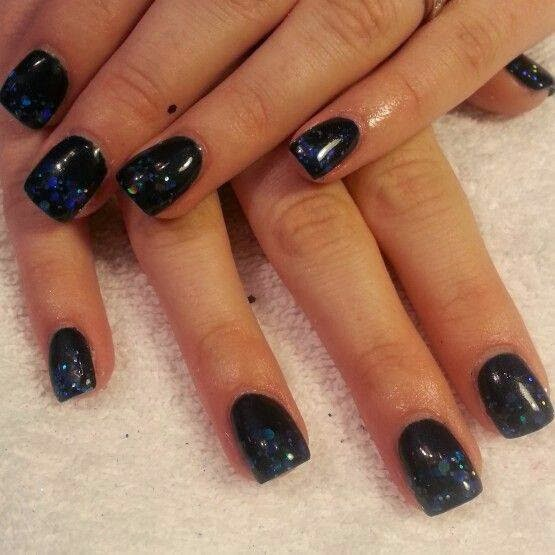 acrylic backfill 2 color layer LED polish manicure blue sequin glitz black base top -Twilight Galaxy fashion OPI Nail Polish Pedicure-care-natural-healthcare-Gel-Nail-Polish-beauty-Acrylic-Nails-Nail-Art-USA-UK