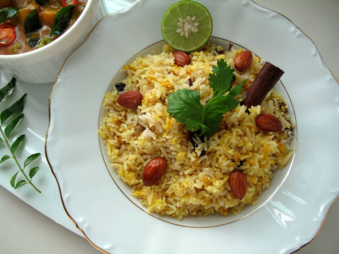 Saffron Rice with Golden Raisins and Almonds for 'An Edible Mosaic's ...
