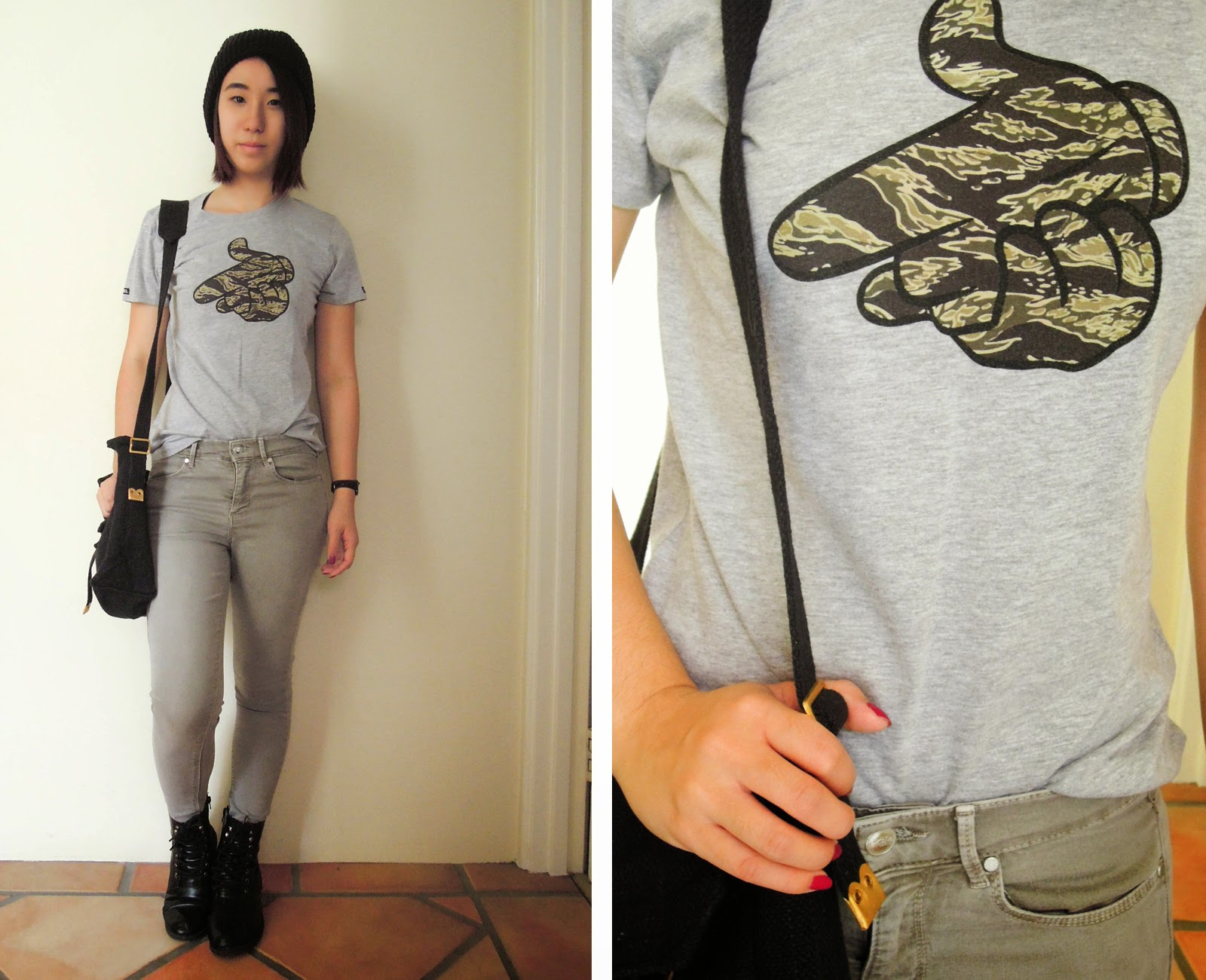 casual tshirt army camo khaki jeans topshop boots military beanie black thrifted