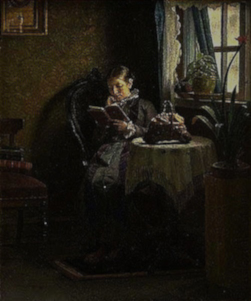 Michael Ancher. Anna Ancher Reading, 1881