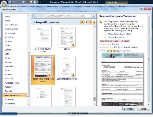 resume formats in ms word 2007 microsoft office word 2007 letter - Free Resume Templates Microsoft Office