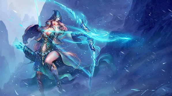 ashe splash art champion league of legends girl