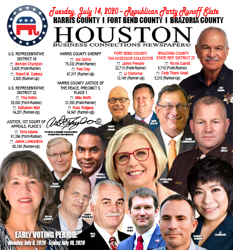 KEY HOUSTON-AREA REPUBLICAN PARTY PRIMARY RUNOFF RACES FOR TUESDAY, JULY 14, 2020