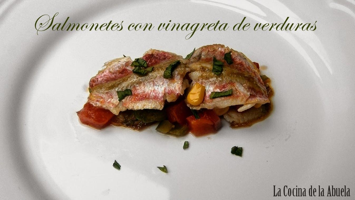 Salmonetes con Vinagreta de Verduras.