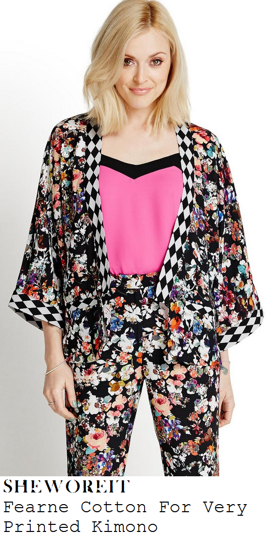fearne-cotton-multicoloured-floral-and-diamond-check-print-three-quarter-sleeve-kimono-jacket-top