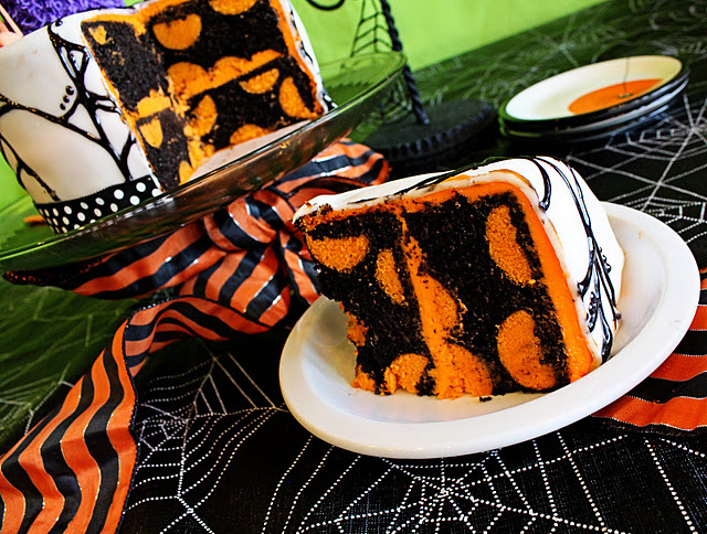 Halloween party polka dot cake