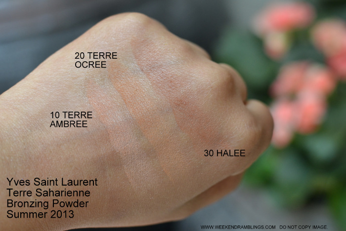 YSL Summer 2013 Makeup Collection Terre Saharienne Bronzing Powder - Swatches - No 10 Terre Ambree - No 20 Terre Ocree - No 30 Halee