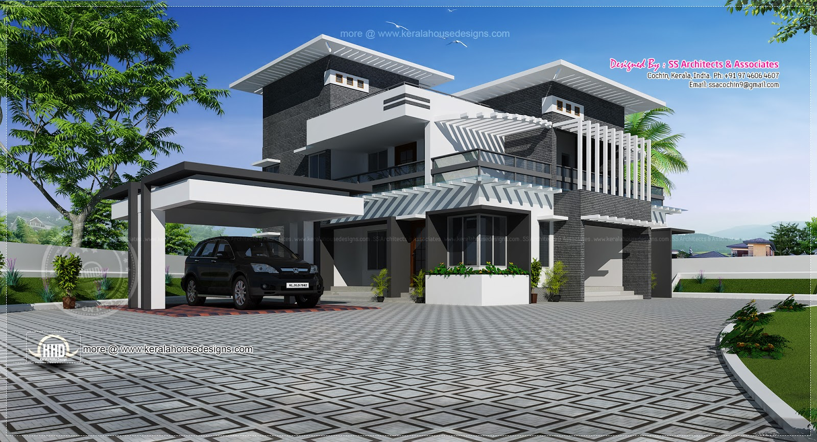 Contemporary home design in 2491 kerala home for Modern house plans