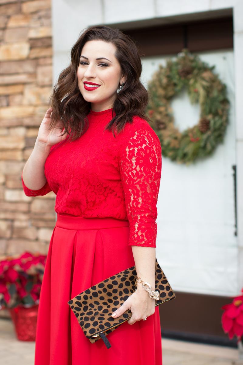 stila beso lipstick, red lace shirt