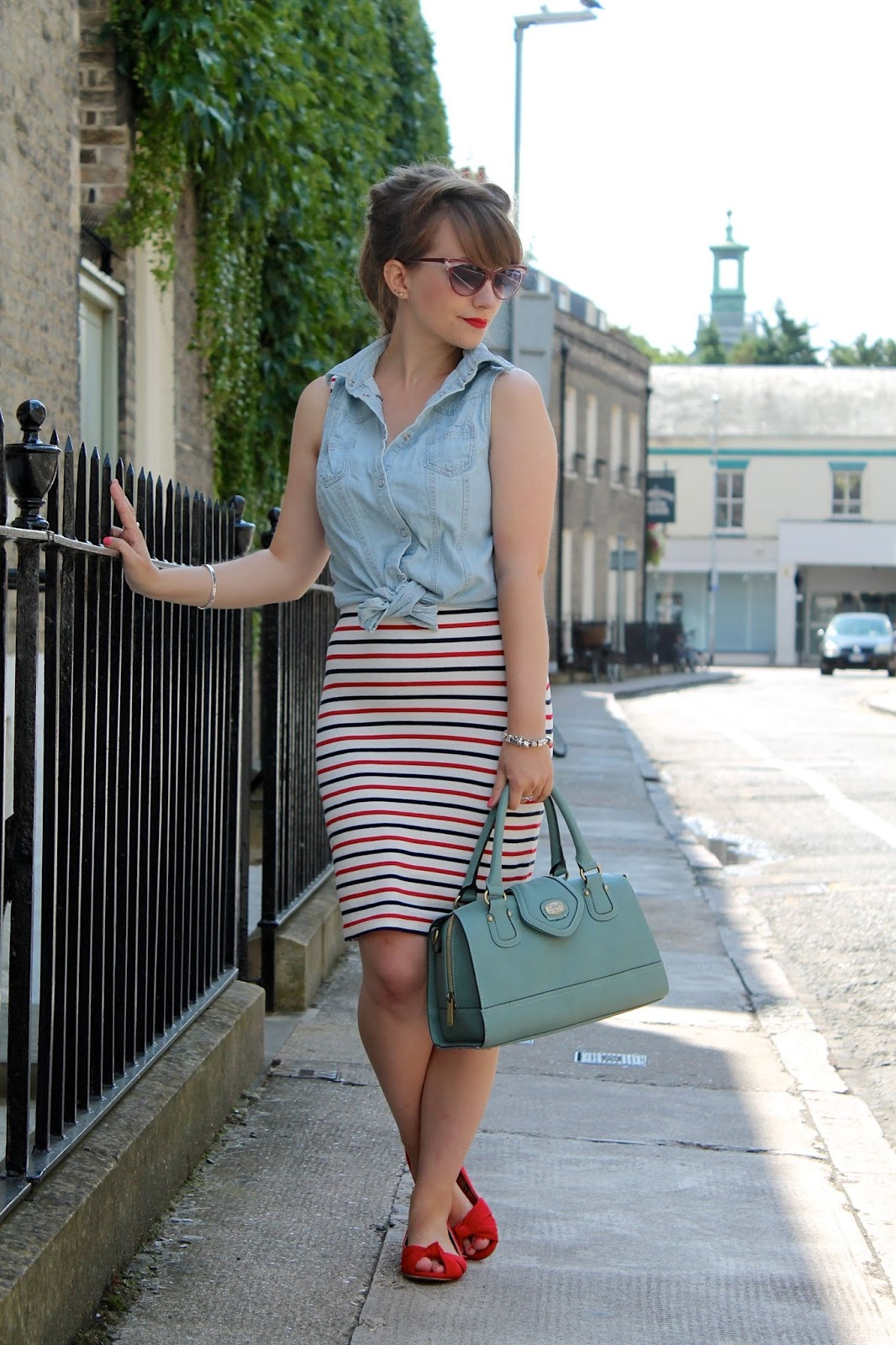 Stripe wiggle dress, denim tie shirt & 50s shades