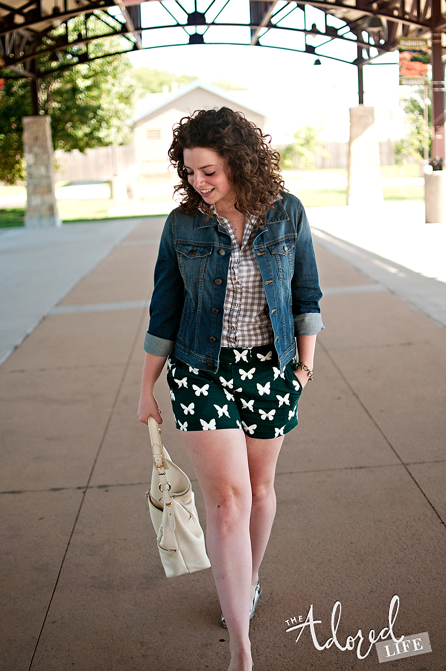 J Crew Butterfly Shorts and denim jacket