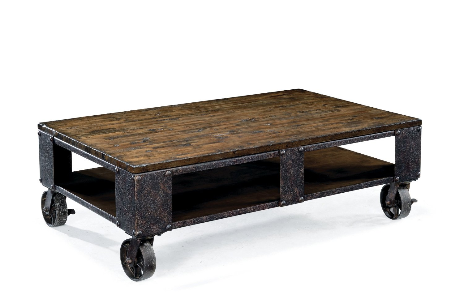 Total Fab Modern Industrial Warehouse Railroad Cart Coffee Tables With Caster Wheels