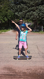 This girl! First time on the skate board.