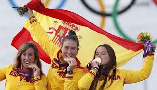 medalla de Oro en Vela Tamara Echegoyen, Sofia Toro y Angela Pumariega, España Juegos Olímpicos de Londres 2012