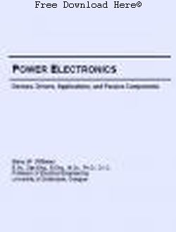 Power Electronics: Devices, Drivers, Applications, and Passive Components