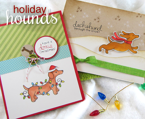 Holiday Hounds Christmas Dog Stamp set by Newton's Nook Designs - Dachshunds