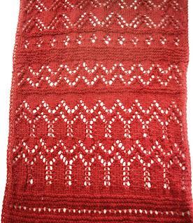 detalle del punto calado bufanda de alpaca