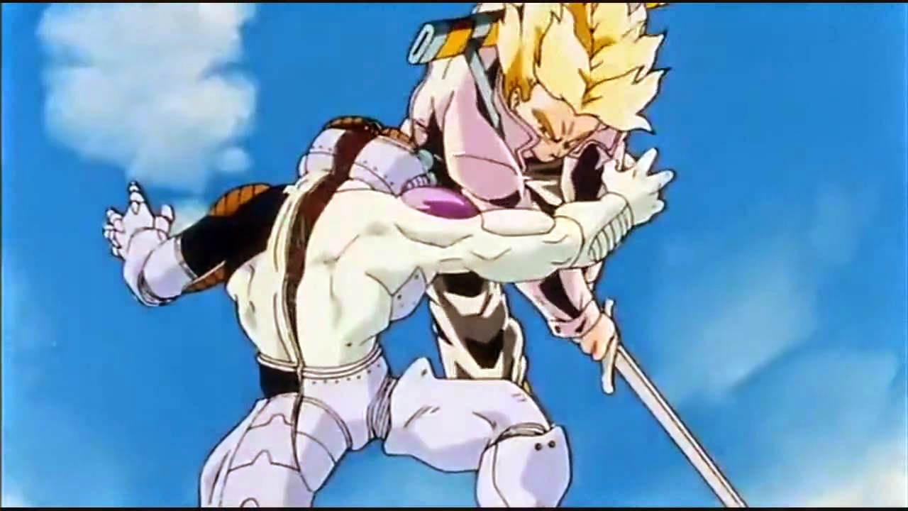 Momento en Dragon Ball en el que Trunks mata a Freezer