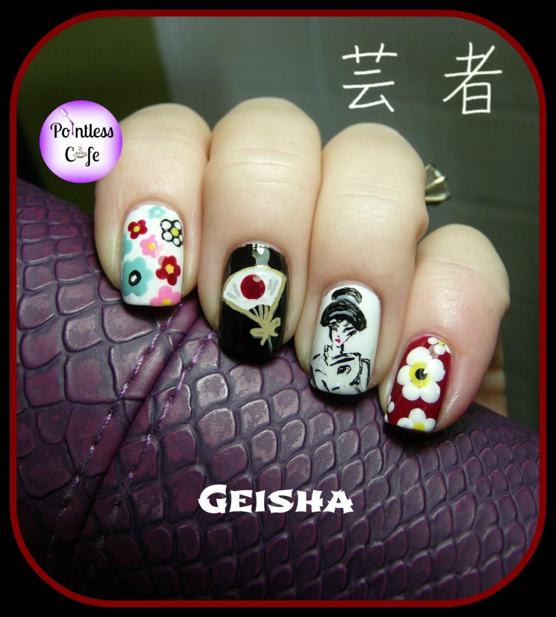December Nail Art Theme Week: Geisha Nails | Pointless Cafe