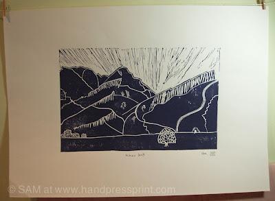 linoprint, lino cut, Arthur's seat, Edinburgh, art, print