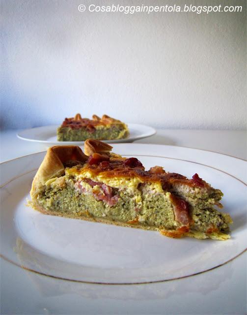 quiche cosa blogga in pentola ricetta pesto uova pancetta pasta brise menta basilico prezzemolo cosabloggainpentola