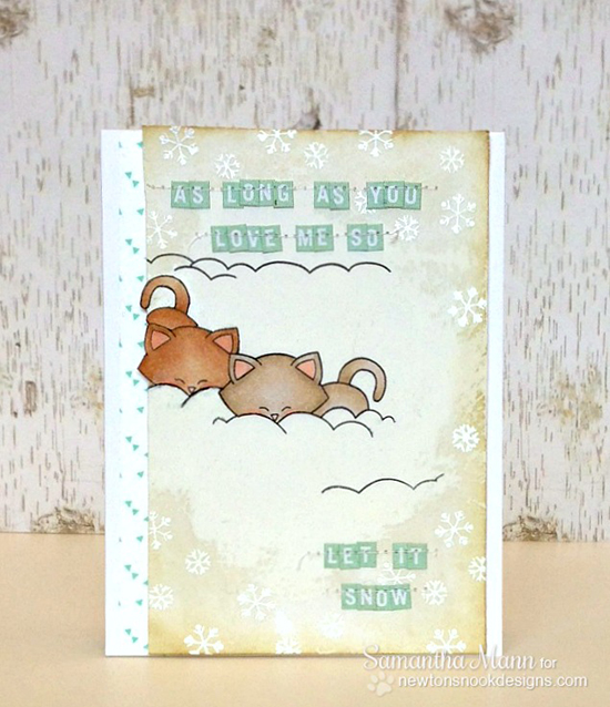 Snowman Kitty Card by Samantha Mann for Newton's Nook Designs - Winter Tails Stamp Set