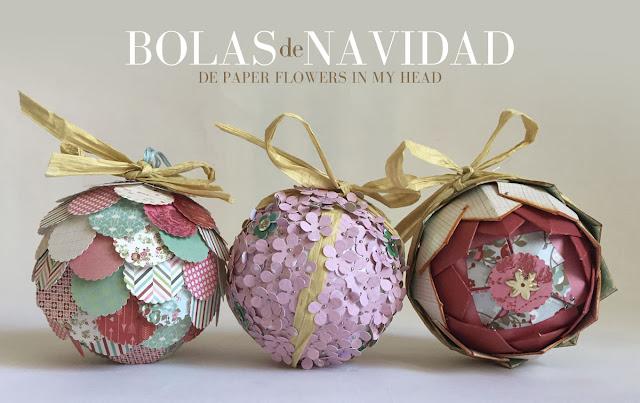 3 ideas para decorar bolas de navidad con papel de - Adornos de navidad con papel ...