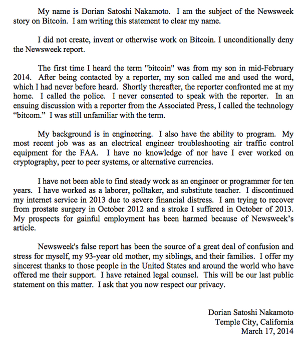 Newsweek Reporter Leah proved a liar, Dorian Nakamoto issues a statement that he doesnt know Bitcoin or Cryptography