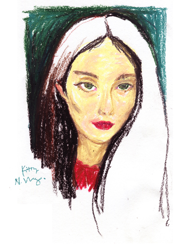 oil pastel beauty portrait