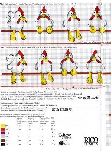 gráfico Rico - ponto cruz - galinhas