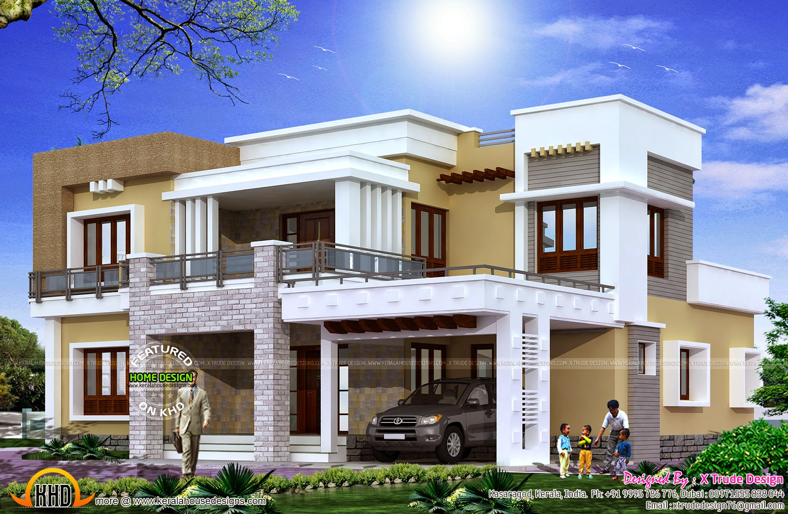 Different views of 2800 sq ft modern home kerala home for Different elevations of house