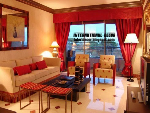 red curtains, red valance curtain for classic interior design