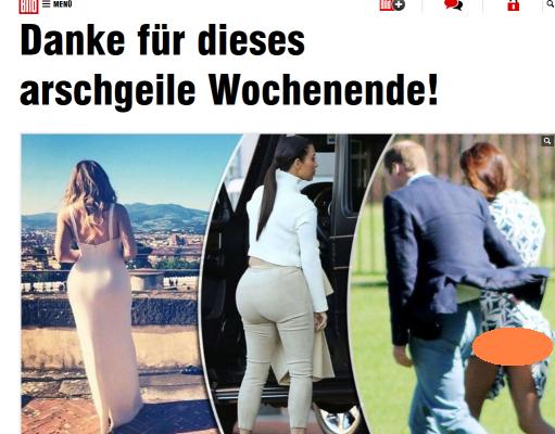 Kate Middleton, bare bum, Prince William, Kim Kardashian, Khloe Kardashian, Bild,