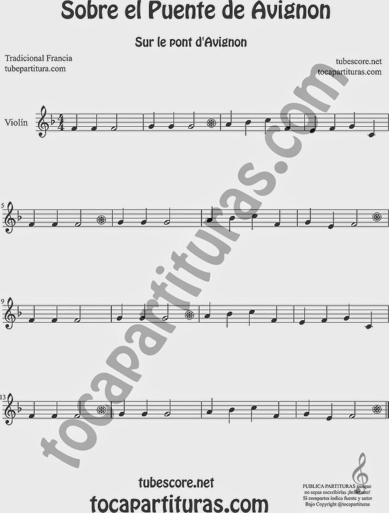 Sobre el Puente de Avignon Partitura de Violín Sheet Music for Violin Music Scores Music Scores  Sur le Pont d'Avignon Popular