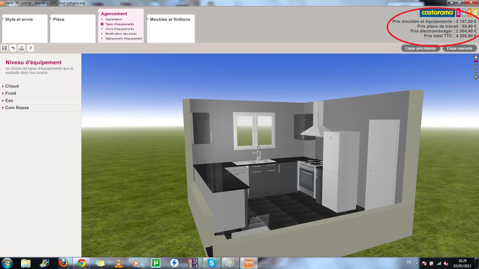 Les 1001 vies de lily les outils de conception cuisine 3d - Casto 3d salle de bains ...