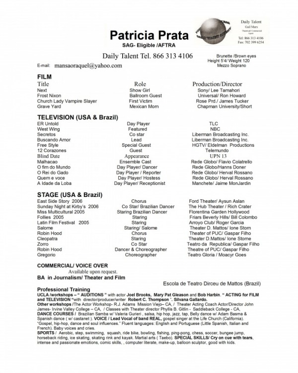 Sag Actor  Acting Resume