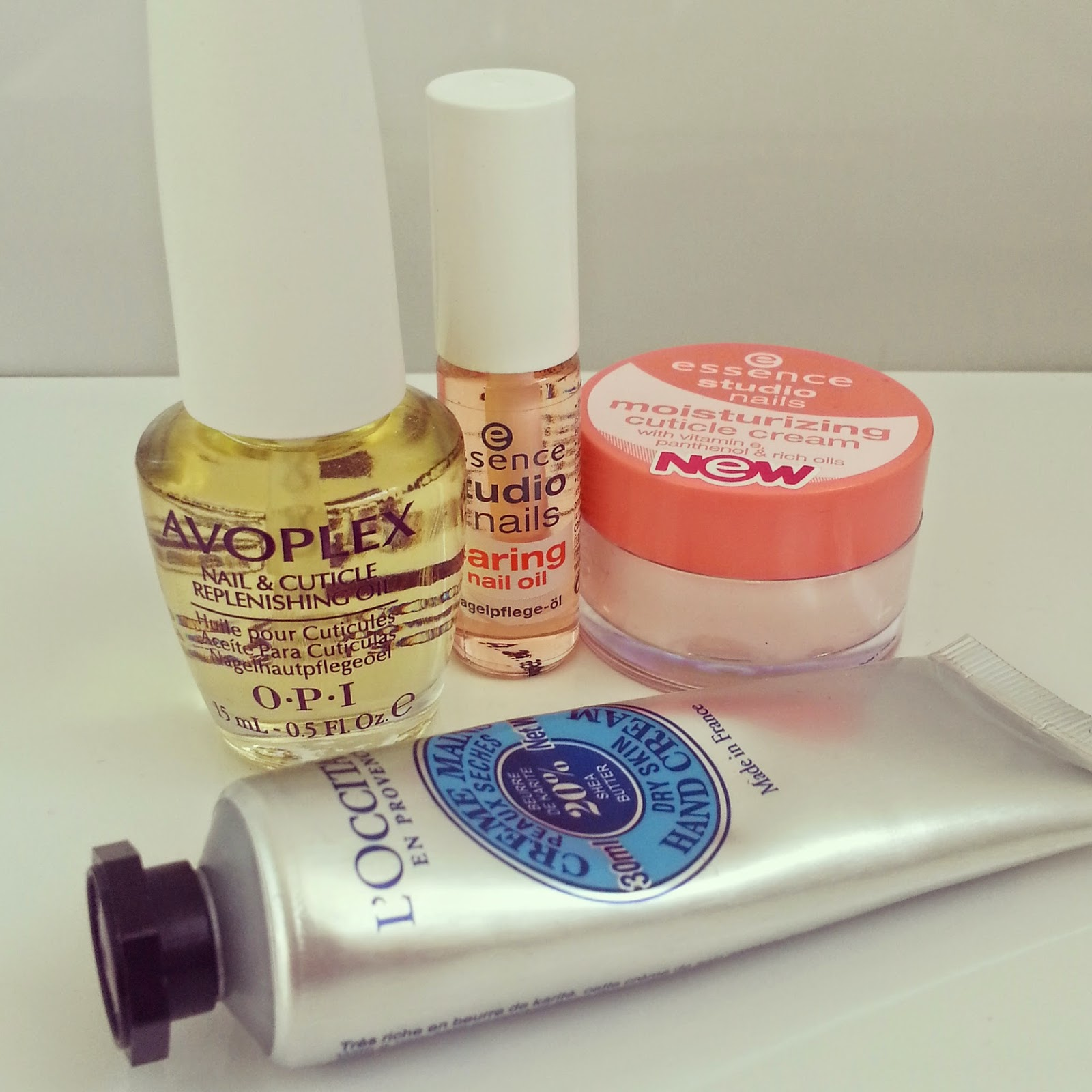 essence-cuticle-cream-loccitane-hand-cream-opi-avoplex-essence-nail-oil